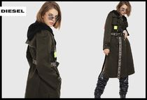 DIESEL Blended Fabrics Street Style Plain Long Trench Coats