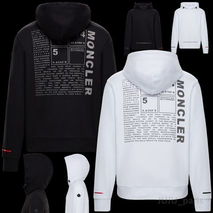 MONCLER Hoodies Long Sleeves Plain Cotton Logos on the Sleeves Hoodies