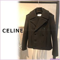 CELINE Short Casual Style Wool Plain Peacoats