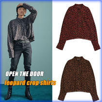 OPEN THE DOOR Leopard Patterns Street Style Oversized Shirts