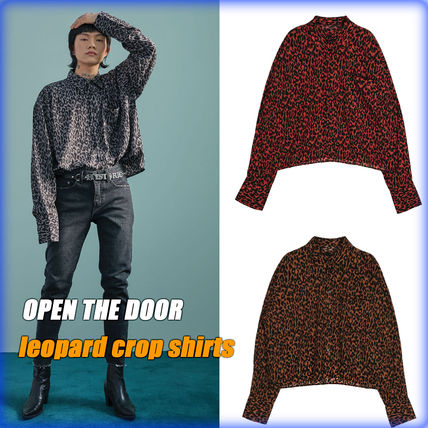 OPEN THE DOOR Shirts Leopard Patterns Street Style Oversized Shirts
