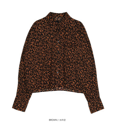 OPEN THE DOOR Shirts Leopard Patterns Street Style Oversized Shirts 6