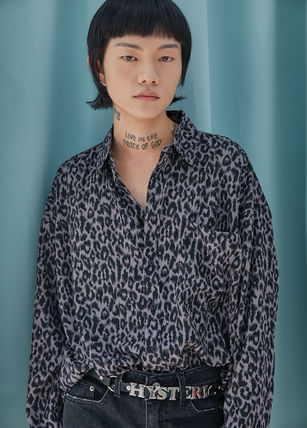 OPEN THE DOOR Shirts Leopard Patterns Street Style Oversized Shirts 13