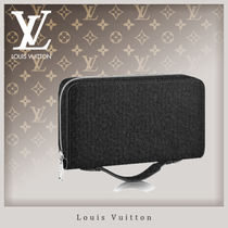 Louis Vuitton TAIGA Unisex Bag in Bag Plain Leather Clutches