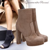 Gianvito Rossi Platform Suede Plain Elegant Style Ankle & Booties Boots