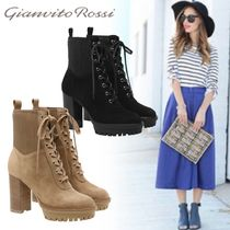 Gianvito Rossi Round Toe Lace-up Casual Style Plain Leather Chunky Heels