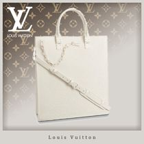 Louis Vuitton TAURILLON Street Style A4 Chain Leather Totes