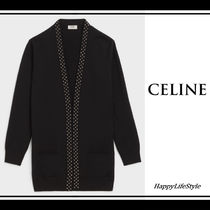 CELINE Wool Studded Bi-color Plain Cardigans