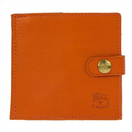 IL BISONTE Folding Wallets Unisex Plain Leather Folding Wallets 4