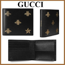 GUCCI Star Other Animal Patterns Leather Folding Wallets