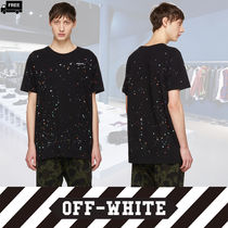 Off-White Crew Neck Pullovers Dots Plain Cotton Short Sleeves Handmade