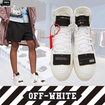 Off-White Plain Leather Handmade Sneakers