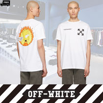 Off-White Crew Neck Pullovers Plain Cotton Short Sleeves Handmade