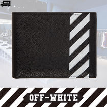 Off-White Stripes Plain Leather Handmade Folding Wallets