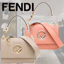 FENDI KAN I 2WAY Plain Leather Elegant Style Handbags