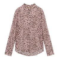 ELF SACK Leopard Patterns Casual Style Chiffon Long Sleeves