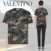 VALENTINO Crew Neck Pullovers Camouflage Cotton Short Sleeves