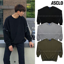 ASCLO Crew Neck Pullovers Unisex Street Style Long Sleeves Plain