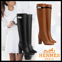 HERMES Casual Style Street Style Plain Leather High Heel Boots