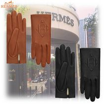 HERMES Unisex Plain Leather Leather & Faux Leather Gloves