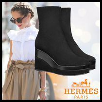 HERMES Casual Style Suede Street Style Plain Ankle & Booties Boots