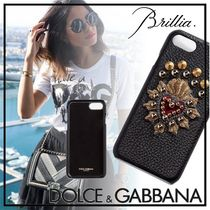 Dolce & Gabbana Heart Studded Leather With Jewels Smart Phone Cases