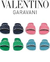 VALENTINO Rubber Sole Casual Style Studded Leather Shower Shoes
