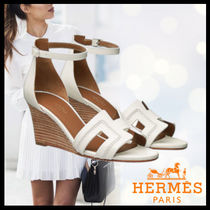HERMES Open Toe Casual Style Street Style Plain Leather