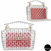 VALENTINO Studded 2WAY Chain Crystal Clear Bags PVC Clothing
