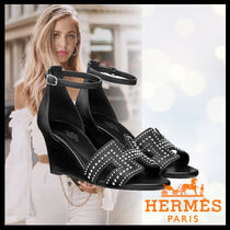 HERMES Open Toe Casual Style Studded Street Style Plain Leather