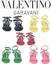 VALENTINO Rubber Sole Casual Style Studded Leather Sandals