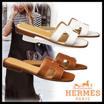 HERMES Open Toe Casual Style Street Style Plain Leather Sandals