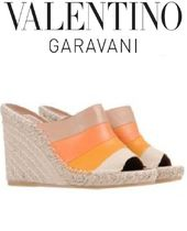 VALENTINO Open Toe Casual Style Leather Platform & Wedge Sandals