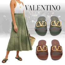 VALENTINO Open Toe Casual Style Plain Leather Slippers Khaki Sandals