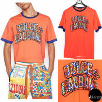 Dolce & Gabbana Crew Neck Bi-color Cotton Short Sleeves Crew Neck T-Shirts