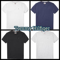 Tommy Hilfiger Street Style V-Neck Plain Cotton Short Sleeves