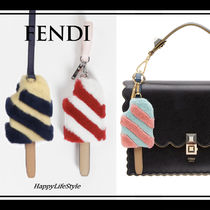FENDI Stripes Fur Blended Fabrics Keychains & Bag Charms
