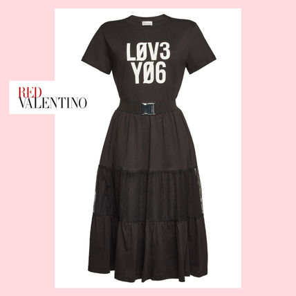 Crew Neck Casual Style Cotton Short Sleeves Dresses