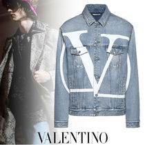 VALENTINO Short Denim Street Style Plain Denim Jackets Jackets