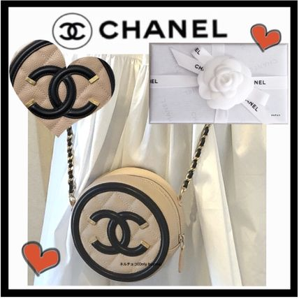 CHANEL ICON Calfskin Bi-color Plain Elegant Style Crossbody