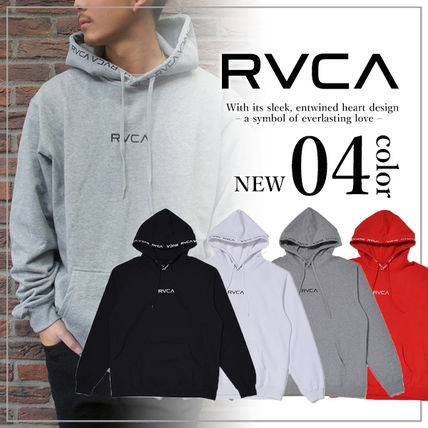 RVCA Hoodies Unisex Long Sleeves Plain Logo Hoodies 2