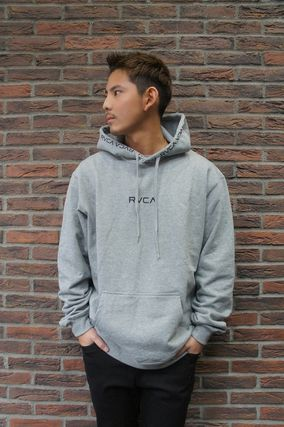 RVCA Hoodies Unisex Long Sleeves Plain Logo Hoodies 14