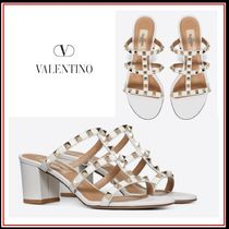 VALENTINO Studded Leather Block Heels Elegant Style Heeled Sandals