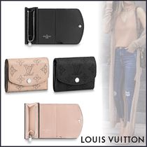 Louis Vuitton MAHINA Monogram Blended Fabrics Bi-color Leather Folding Wallets