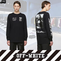 Off-White Crew Neck Pullovers Long Sleeves Plain Cotton Handmade