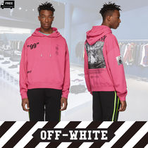 Off-White Pullovers Long Sleeves Plain Cotton Handmade Hoodies