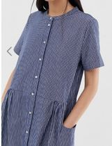 SELECTED Stripes Casual Style Medium Short Sleeves Dresses