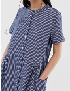 Stripes Casual Style Medium Short Sleeves Dresses