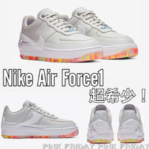 Nike AIR FORCE 1 Flower Patterns Round Toe Rubber Sole Casual Style Unisex