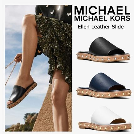Open Toe Platform Casual Style Plain Leather Slippers
